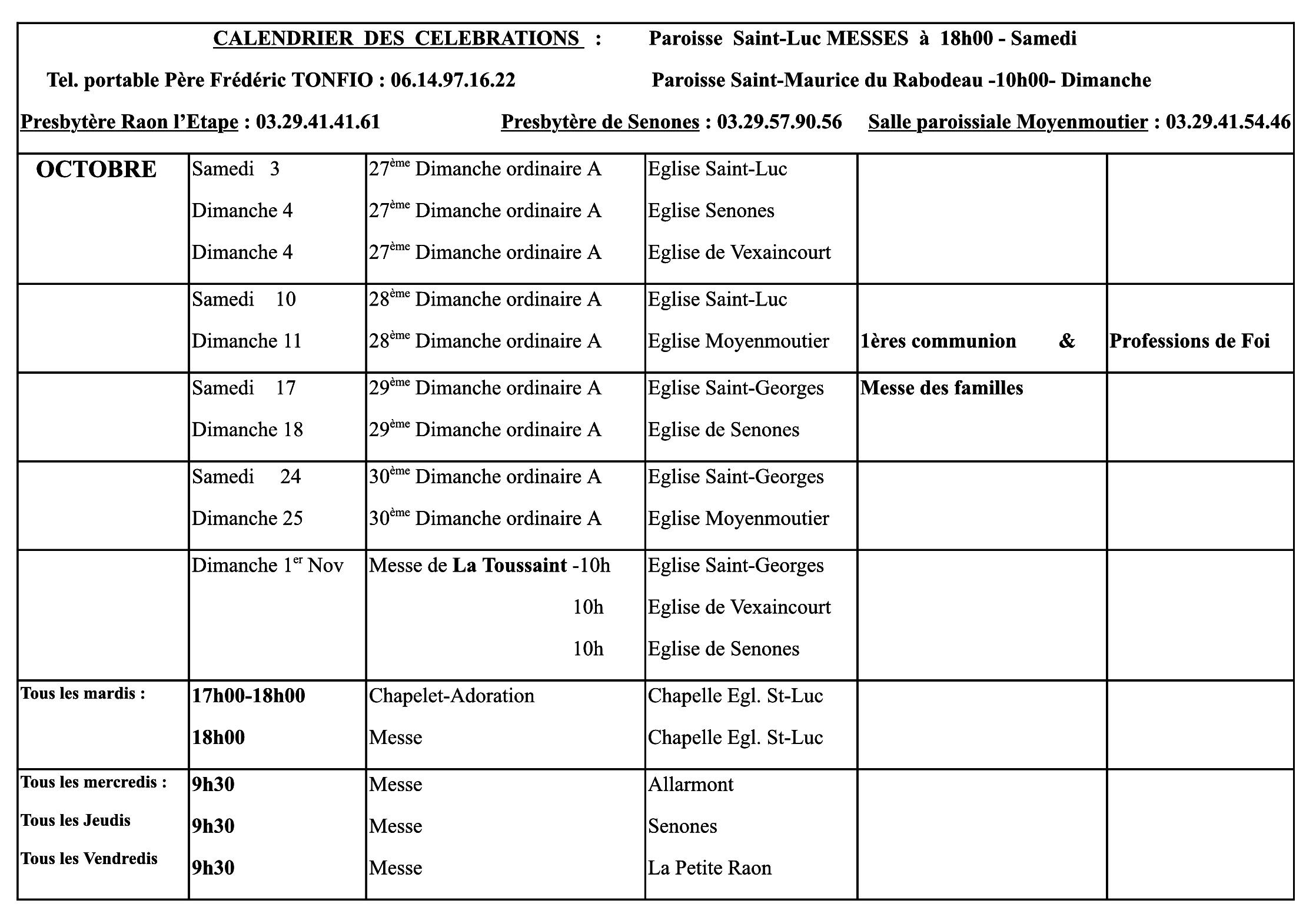 Calendrier des Messes pour Octobre, paroisse Saint Luc de Raon