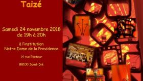 Temps de prière Taizé à la chapelle du collège Notre Dame de la Providence 14 rue Pasteur à Saint-Dié le samedi 24 novembre de 19h à 20h